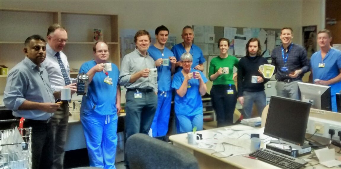 Anaesthetists enjoy a Fairtrade cuppa at DGRI