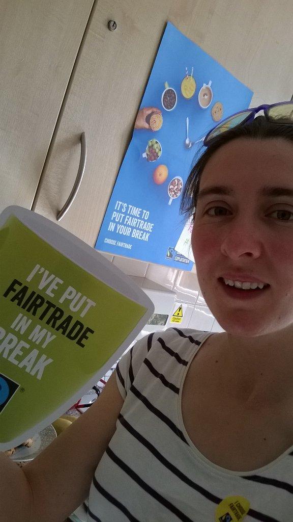 Rhian Davis prepares a Fairtrade break for colleagues at Crichton Hall